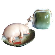Royal Bayreuth Piggy Bank and Pig Pin Dish