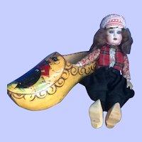 "9"" All Original Dutch Boy Riding in Wooden Shoe"