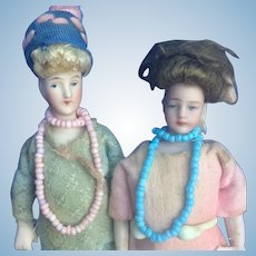 Flapper Bisque Dollhouse Dolls. Great Pair. Collection Ready.