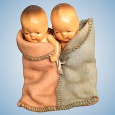 """4"""" Twin Babies---Made in Japan with Bunting"""