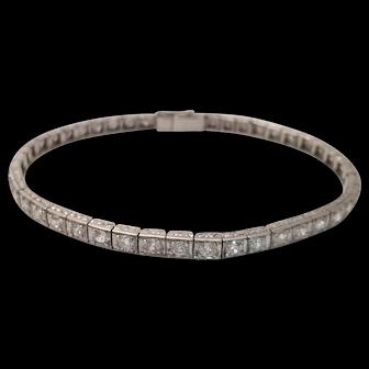 Platinum Art Deco Tennis Bracelet