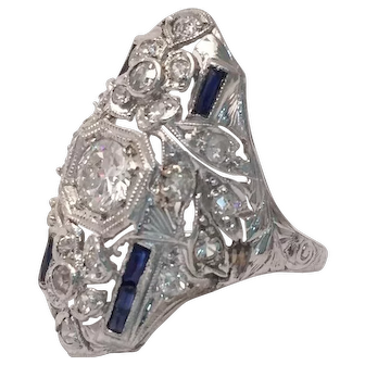 Edwardian Diamond and Sapphire Cocktail Ring