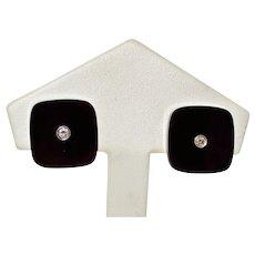 Art Deco Black Onyx Diamond Earrings