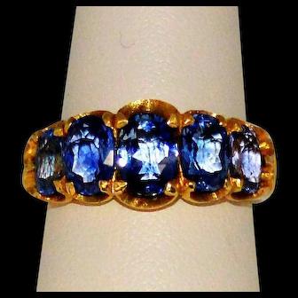 Corn Flower Blue Sapphire 18KY 5-Stone Ring