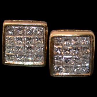 Princess Cut Invisible Set Diamond Studs