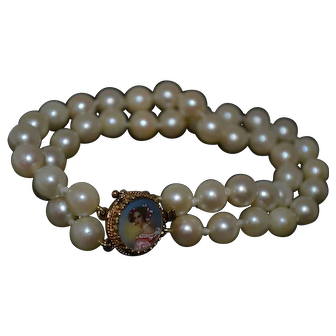 Double Strand Cultured Pearl Bracelet With Hand Painted Portrait Clasp