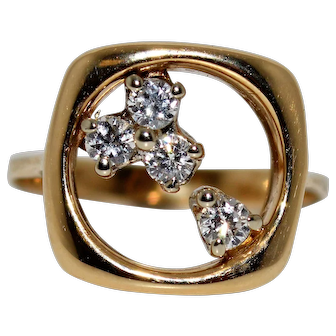Square Shaped Diamond Accent Ring