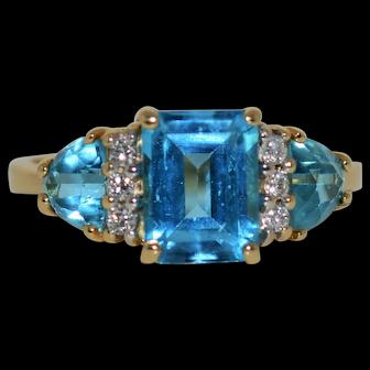 Blue Topaz Diamond Accent Ring