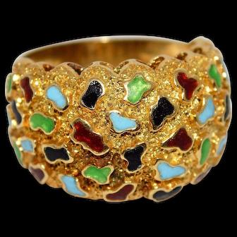 Vibrant Colorful Enamel Ring