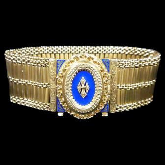 Hidden Bracelet Watch: 14k Gold with Blue Enameling