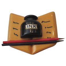 Bakelite Open Writer's Book Pin