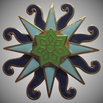 Enameled Sun Pin by Movitz