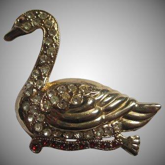 Gold-tone Rhinestone Swan pin
