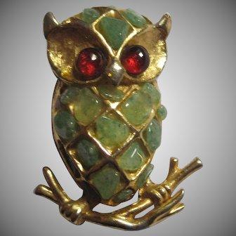 Green stone & gold-tone Owl Pin