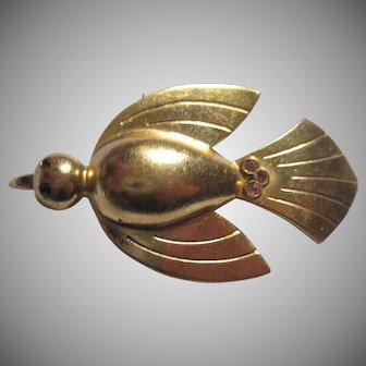 Coro gold-tone Bird Pin