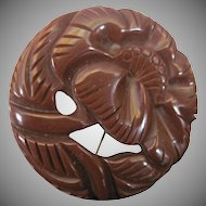 Brown Bakelite Floral Circle Pin