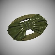 Green Bakelite Bow Pin