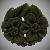 Green Bakelite Floral Circle Pin