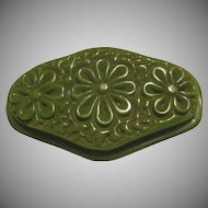 Green Bakelite Carved Floral Pin
