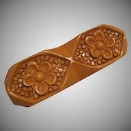 Cream Floral Carved Bakelite Pin
