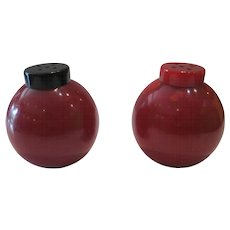 Red Bakelite Salt & Pepper Shakers