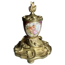 Gilt Bronze an Hand Painted Porcelain Inkwell
