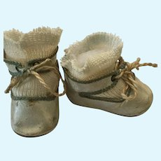 Green German Oilcloth Doll Shoes marked 4 with Stockings