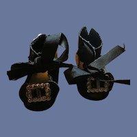 Black Oilcloth Shoes Fuzzy Bottoms