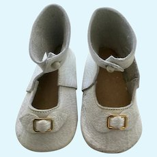 Large White Leather Doll Shoes