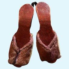Slip On Open Toe Wood Doll Shoes