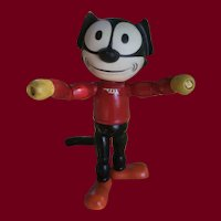 """Cameo Felix the Cat, Rubber Head and Wood Body.  8 1/2"""" Tall"""