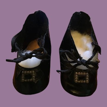 Black Oilcloth Shoes Marked  6