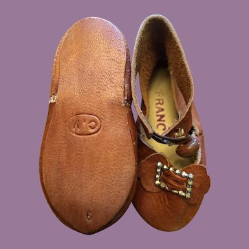Brown  Leather French Doll Shoes Marked CM 9