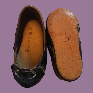 Black Leather Slip On French Doll Shoes marked C.M. 6
