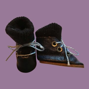 Navy Blue Doll Boots with Navy Blue Stockings