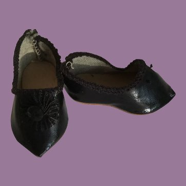 French Black Oilcloth Slip On Doll Shoes marked C.P. MRR jr 1