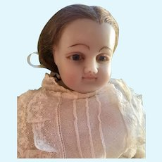 "Beautiful 20"" English Poured Wax Doll Pierotti/Montanari?"