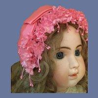 Beautiful Vintage Pink Flowery Headband  Hat