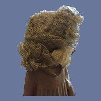 Vintage/Antique Beige Ruffled Netted Doll Hat