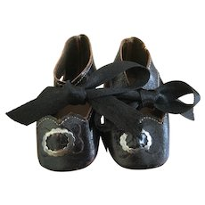Black Leather Doll Shoes unmarked