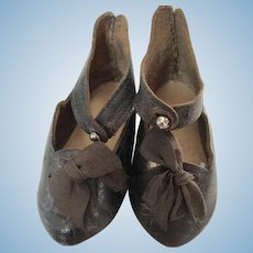 French Jumeau Black Leather Doll Shoes Size 11