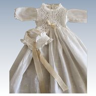 Vintage Handmade Doll Christening Gown and Bonnet