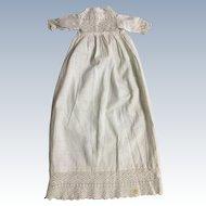 Tiny White Cotton Christening Doll Dress