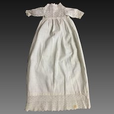 Tiny White Cotton Christening Doll Dress
