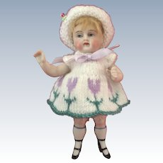 """All Bisque Early German Wrestler Type Doll with Chunky Legs and Bootines measuring 6"""""""