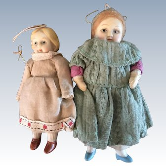 Small German Bisque Hanging  Dolls