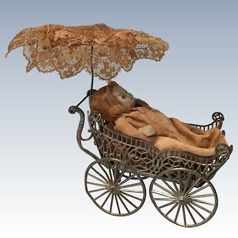 Miniature Wire Metal Carriage/Stroller/Pram with All Bisque Doll