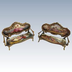 Two Austrian Enamel and Bronze Miniature Settees