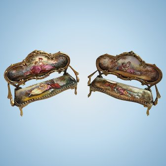 Two Austrian Enamel and Bronze Miniature Settees