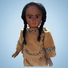 "Bahr & Proschild ""Scowling Native American 244  Doll 16"""